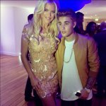Victoria Silvstedt in a Joelle Flora dress. Here with  singer Justin Bieber.