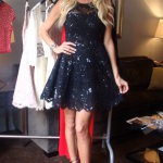 Victoria Silvstedt in Joella Flora lace dress