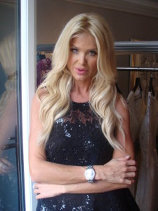 Victoria Silvstedt in Paris ( Hotel Prince de Galles) promoting Joelle Flora new fashion collection.