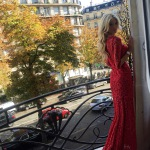 Victoria Silvstedt in a red lace gown by Joelle Flora